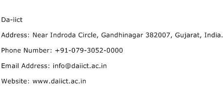 Da iict Address Contact Number