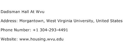 Dadisman Hall At Wvu Address Contact Number