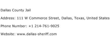 Dallas County Jail Address Contact Number