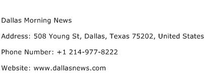 Dallas Morning News Address Contact Number