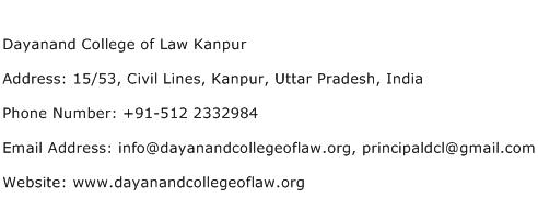 Dayanand College of Law Kanpur Address Contact Number