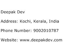 Deepak Dev Address Contact Number