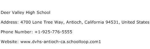 Deer Valley High School Address Contact Number