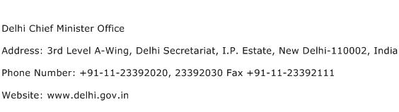 Delhi Chief Minister Office Address Contact Number