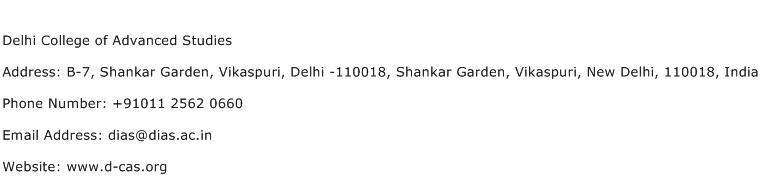 Delhi College of Advanced Studies Address Contact Number