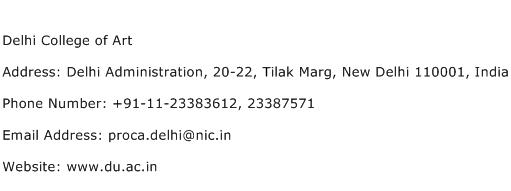 Delhi College of Art Address Contact Number