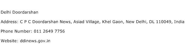 Delhi Doordarshan Address Contact Number