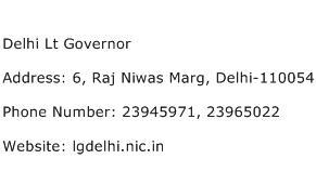 Delhi Lt Governor Address Contact Number