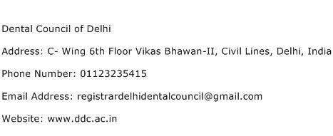 Dental Council of Delhi Address Contact Number