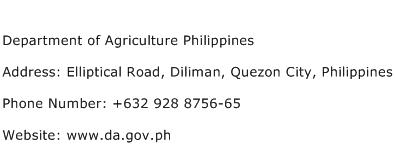 Department of Agriculture Philippines Address Contact Number