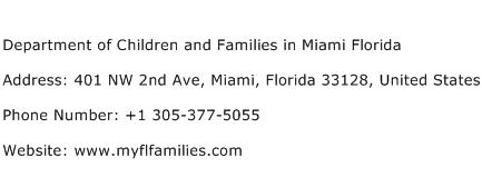 Department of Children and Families in Miami Florida Address Contact Number