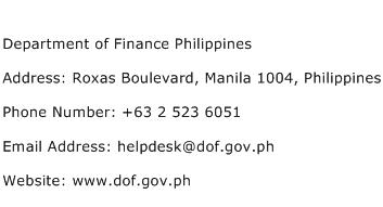 Department of Finance Philippines Address Contact Number