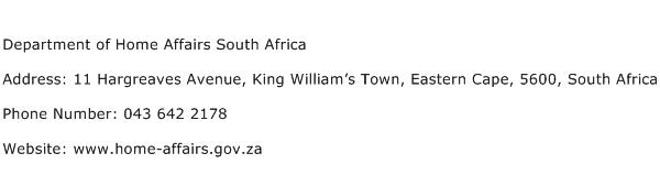 Department of Home Affairs South Africa Address Contact Number