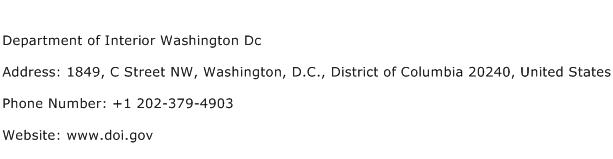 Department of Interior Washington Dc Address Contact Number