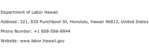 Department of Labor Hawaii Address Contact Number