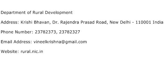 Department of Rural Development Address Contact Number