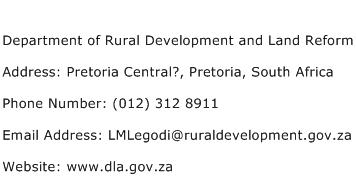 Department of Rural Development and Land Reform Address Contact Number