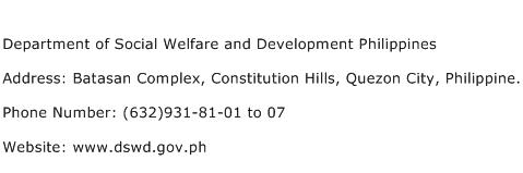 Department of Social Welfare and Development Philippines Address Contact Number