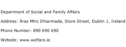 Department of Social and Family Affairs Address Contact Number