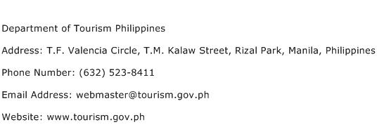 Department of Tourism Philippines Address Contact Number