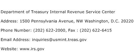 Department of Treasury Internal Revenue Service Center Address Contact Number
