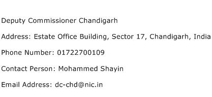 Deputy Commissioner Chandigarh Address Contact Number