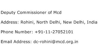 Deputy Commissioner of Mcd Address Contact Number