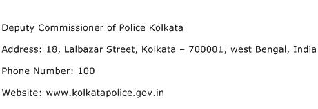 Deputy Commissioner of Police Kolkata Address Contact Number