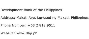 Development Bank of the Philippines Address Contact Number