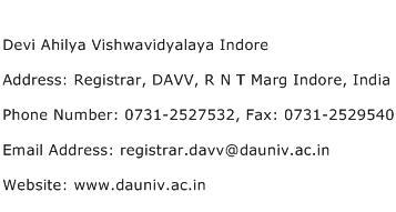 Devi Ahilya Vishwavidyalaya Indore Address Contact Number