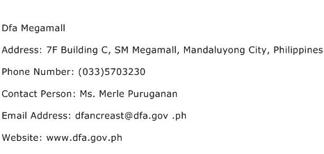 Dfa Megamall Address Contact Number