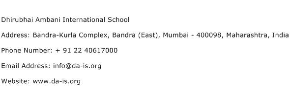 Dhirubhai Ambani International School Address Contact Number