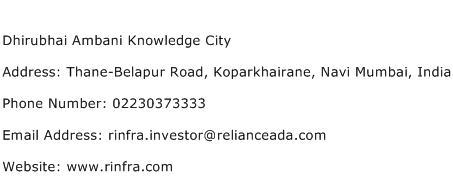 Dhirubhai Ambani Knowledge City Address Contact Number