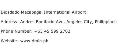 Diosdado Macapagal International Airport Address Contact Number
