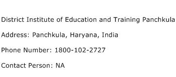 District Institute of Education and Training Panchkula Address Contact Number