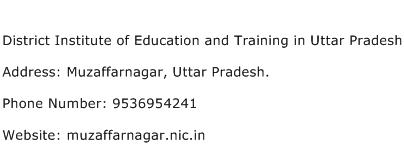 District Institute of Education and Training in Uttar Pradesh Address Contact Number
