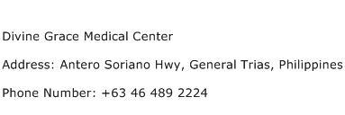 Divine Grace Medical Center Address Contact Number