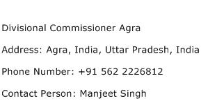 Divisional Commissioner Agra Address Contact Number