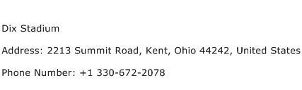 Dix Stadium Address Contact Number