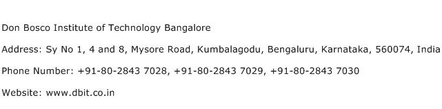 Don Bosco Institute of Technology Bangalore Address Contact Number