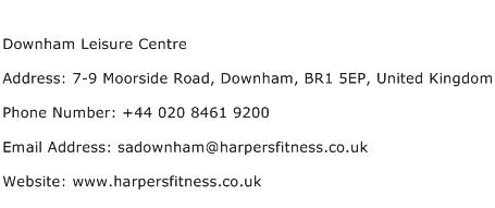 Downham Leisure Centre Address Contact Number