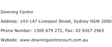 Downing Centre Address Contact Number