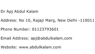 Dr Apj Abdul Kalam Address Contact Number