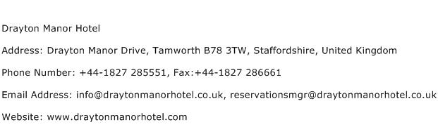 Drayton Manor Hotel Address Contact Number