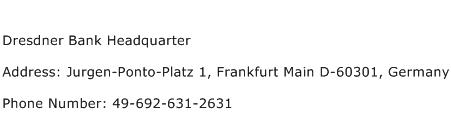Dresdner Bank Headquarter Address Contact Number