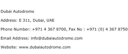 Dubai Autodrome Address Contact Number