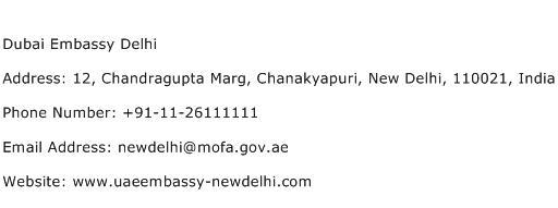 Dubai Embassy Delhi Address Contact Number