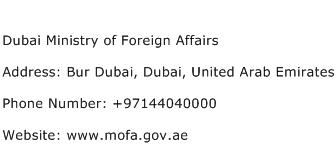 Dubai Ministry of Foreign Affairs Address Contact Number