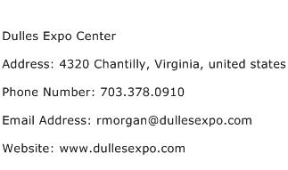 Dulles Expo Center Address Contact Number
