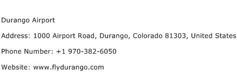 Durango Airport Address Contact Number